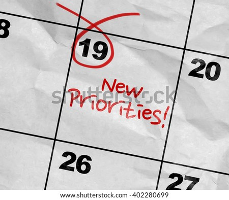 Concept image of a Calendar with the text: New Priorities - stock photo