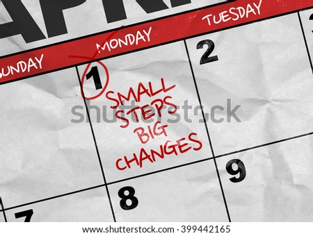 Concept image of a Calendar with the text: Small Steps Big Changes - stock photo