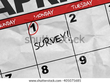 Concept image of a Calendar with the text: Survey - stock photo