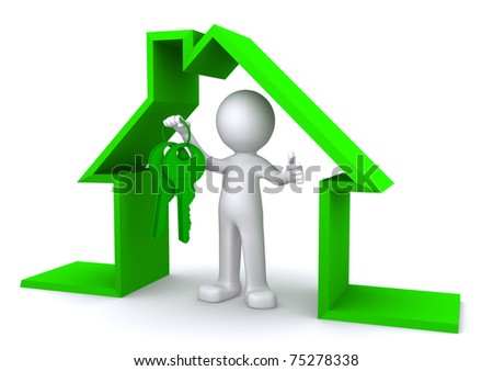 Concept image of a character holding a house key inside miniature house model on white background - stock photo