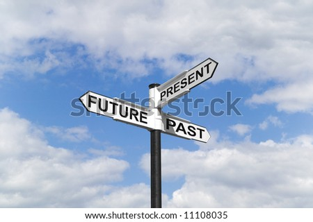 Concept image of a Future Past & Present signpost against a blue cloudy sky - stock photo