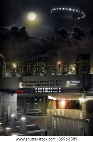 Concept image of a futuristic space station with detail of terminal and a ufo landing - stock photo