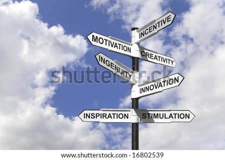 Concept image of a signpost with motivational directions. - stock photo
