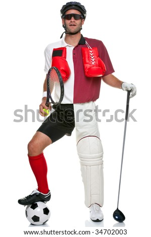 Concept image of a sportsman wearing various different sporting kit and equipment, isolated on a white background.
