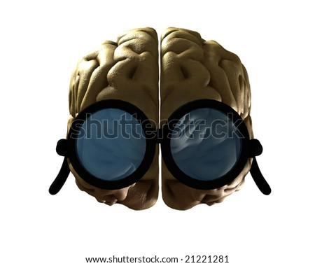Concept image of Brain wearing glasses to show its intelligence.