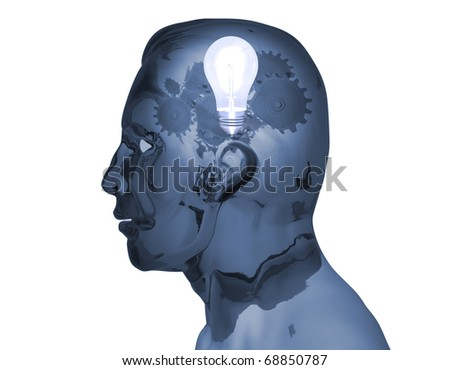 Concept image of gears and a light bulb inside of a man's head. - stock photo