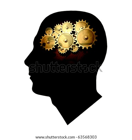 Concept image of gears inside the silhouette of a head. - stock photo