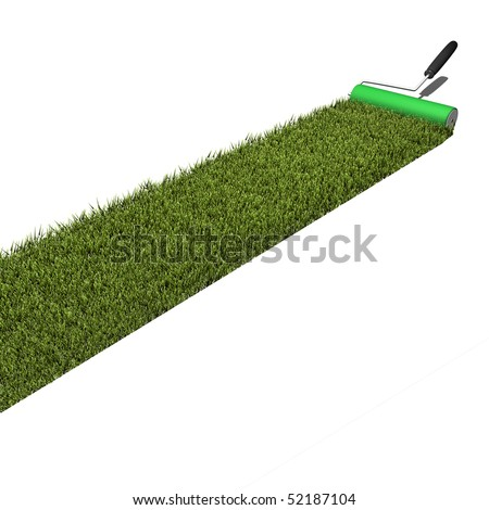 Concept image of green grass being applied by a paint roller isolated on a white background. - stock photo