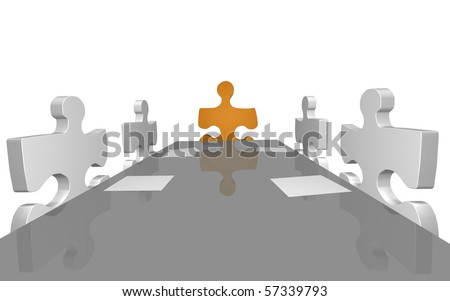 Concept image of puzzle pieces having a company meeting. - stock photo