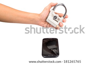 Concept image of securing data in a smartphone - stock photo