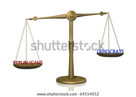 Concept image of the balance between Republican and Democratic control. - stock photo