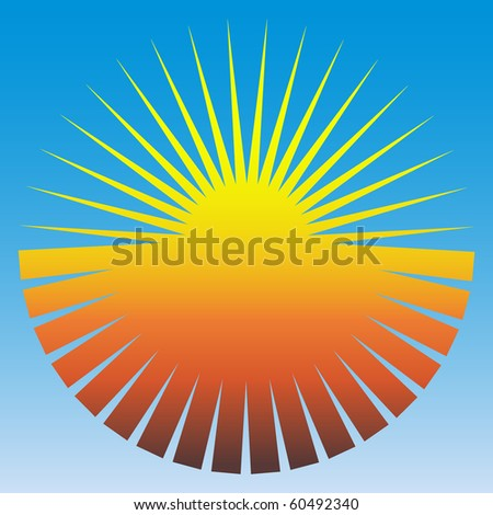 Concept image of the sun on a blue background - stock photo