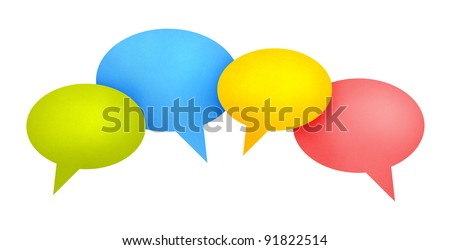 Concept image on communication theme with bright colored speech bubbles. Isolated on white. - stock photo