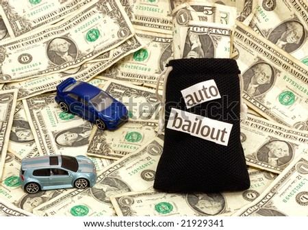 Concept image representing bailout of the auto industry - stock photo