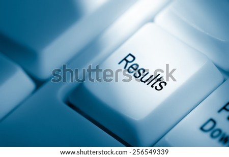 concept image, results on computer keyboard - stock photo