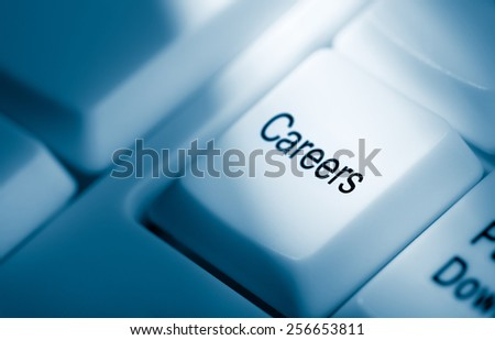 Concept image with careers on computer keyboard - stock photo