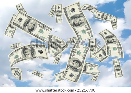 concept image with copy and cropping space depicting a money shower of 100 hundred dollar bills falling from a cloudy blue sky - stock photo