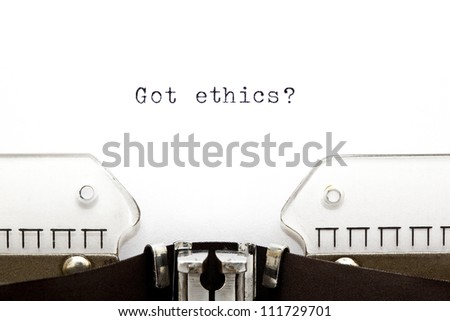 Concept image with Got Ethics printed on an old typewriter - stock photo
