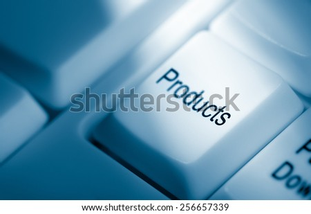 Concept image with products on computer keyboard - stock photo
