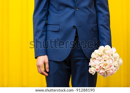 Concept image - young man waiting woman - stock photo