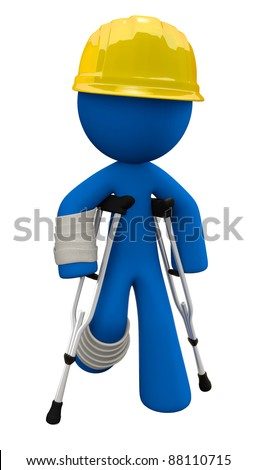 Concept in workplace safety. 3d Man is wearing a yellow hard hat with crutches and cast. - stock photo
