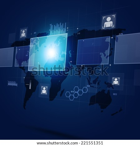 concept interface of global web connections and communications - stock photo