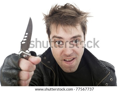 concept isolated image of crazy crimynal guy - stock photo