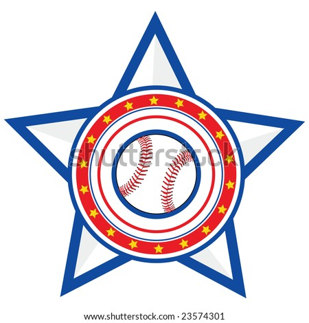 Concept jpeg illustration of a baseball over a red and blue background with stars