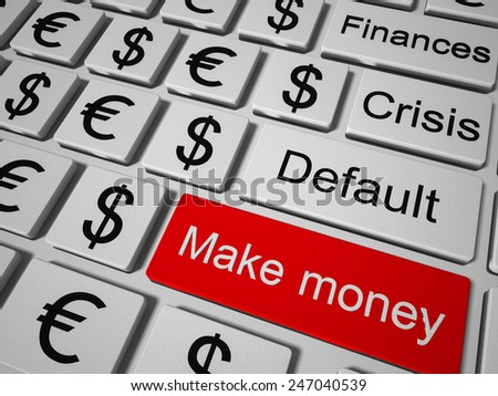 Concept keyboard button to make money - stock photo