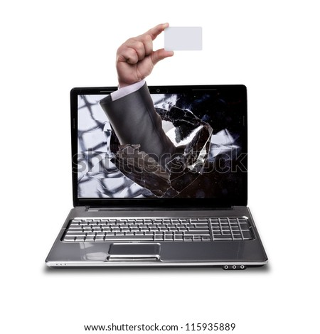 CONCEPT. laptop with broken screen and hand  isolated on white background - stock photo