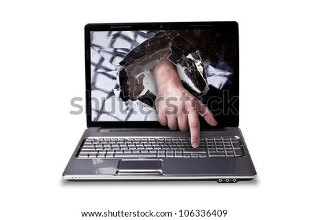 CONCEPT laptop with with broken screen the hand presses the button isolated on white background