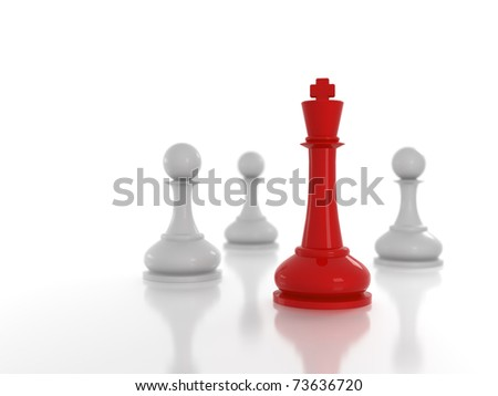 Concept: Leadership metaphor; Red chess king among white pawns - stock photo