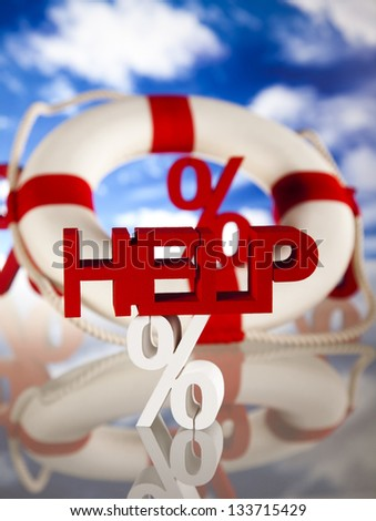 Concept, life buoy with percent - stock photo