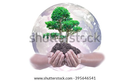 Concept: Love the earth to plant trees. Elements of this image furnished by NASA - stock photo