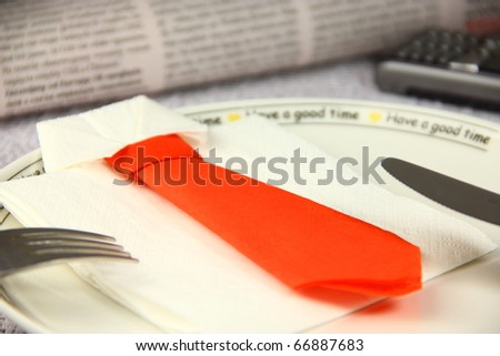 Concept lunch made by business shirt and tie - stock photo