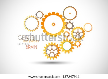 Concept mechanic Gear illustration. It can be used to show how teamwork is important and every part of a project is connected to each other. - stock photo