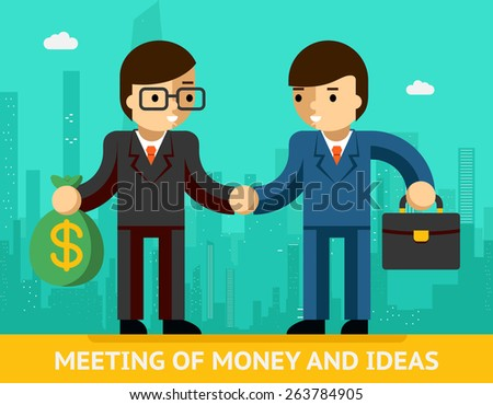 Concept meeting of money and ideas. Two businessmen and handshake. Agreement and success - stock photo