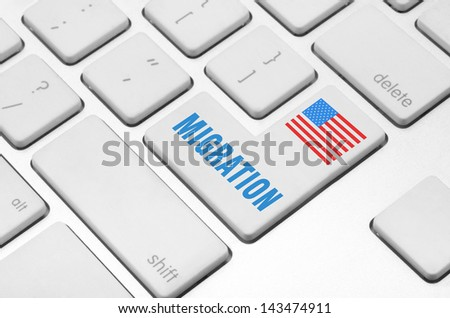 concept: Migration key on the computer keyboard - stock photo