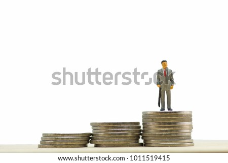 Concept, Miniature  business people on step of coin money, On a white background