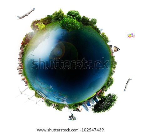 concept miniature globe showing the various modes of transport and life styles in the world  isolated on white background - stock photo