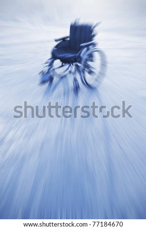 Concept miracle - she raised and went away. Zoom blur - space for text. - stock photo