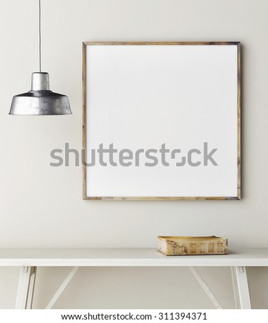 Concept mock up frame, minimalism  design,3d rendering - stock photo