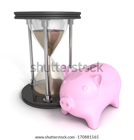 concept money time piggy bank sand hourglass on white background - stock photo