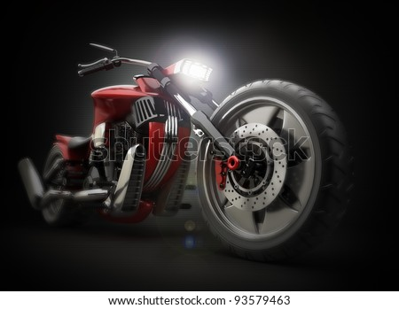 concept motorcycle (No trademark issues as the car is my own design) High resolution 3D - stock photo