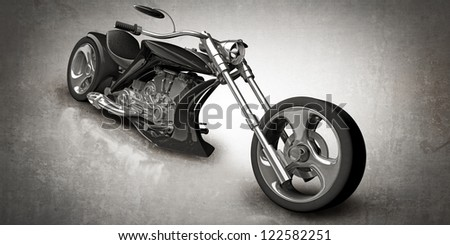 concept motorcycle (No trademark. it is design and the 3d model completely exclusive) High resolution 3D - stock photo