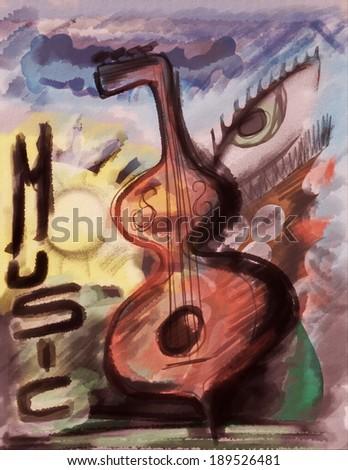Concept music art grunge background, Digital Arts - stock photo