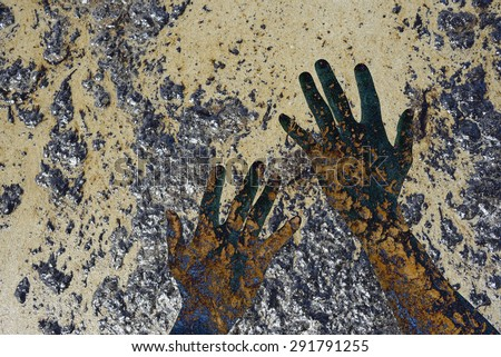 concept natural destroyed by human hands. - stock photo