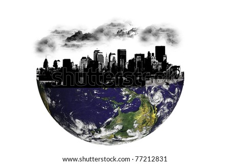 Concept North America with building on silhouette. photo of Earth from NASA (http://visibleearth.nasa.gov/useterms.php) - stock photo