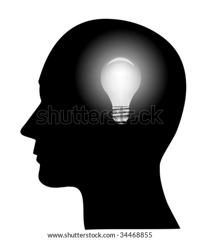 concept of a bright idea, invention, inspiration, mind, (jpg)