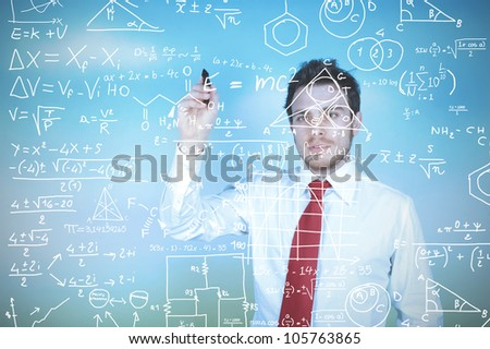 Concept of  a businessman that solves problems - stock photo